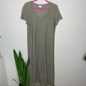 J. Jill Cotton Green Striped Maxi Tee Shirt Dress